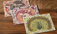 Red Cap Cards #fox #card #print #illustration #hedgehog #animals #peacock