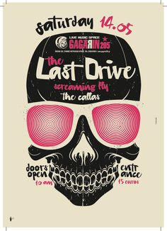 Last Drive / Silkscreen Poster on Behance #silkscreen #illustration #drive #poster #skull #last #typography