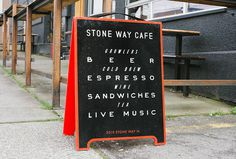Stone Way Cafe by Shore #graphic design #typography #glass print #sign