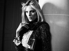 Anja Rubik by Hedi Slimane for Saint Laurent Campaign #model #girl #photography #portrait #fashion #beauty