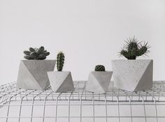 octahedron concrete planter by frauklarer