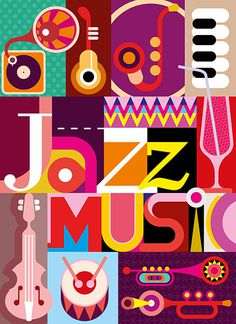 "Jazz. Musical collage - vector illustration with musical instruments and inscription ""Jazz Music"". Design with fonts."