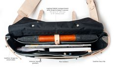 WAXED CANVAS MESSENGER BAG (CHARCOAL) | Ugmonk