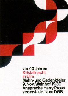 aicher Kristallnacht in Ulm / Poster / 1978
