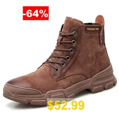 AILADUN #Men #Tooling #Durable #Non-slip #Boots #Outdoor #Lace-up #Shoes #- #BROWN