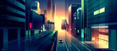 Brilliant Digital Illustrations of a City by Night – by Romain Trystram #city #illustration #romaintrystram