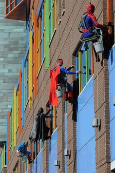 Superhero window washers #superhero #hero #wash #window #children