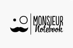 Monsieur Notebook Logo #script #branding #display #moustasche #logo #type #moustache