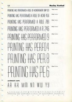 Vintage font specimen of Huxley Vertical #type #specimen #font