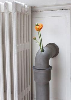 Concrete pipes #accessories #vase #concrete #home #functional