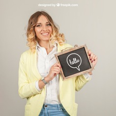 Smiling woman presenting slate Free Psd. See more inspiration related to Mockup, Template, Woman, Girl, Quote, Face, Smile, Happy, Presentation, Chalkboard, Mock up, Chalk, Drawing, Female, Young, Up, Happy face, Women face, Holding, Showcase, Stylish, Slate, Smiling, Mock, Joyful, Presenting and Showing on Freepik.