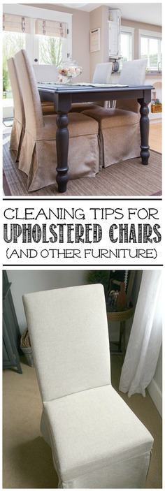 Great tips for cleaning upholstered chairs or other furniture.
