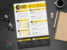 Free Flat CV Template with Stylish Design