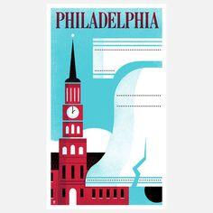 Philadelphia Print #liberty #philadelphia #serif #city #color #hall #bell