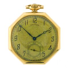 WALTHAM Yellow Gold Pocket Watch Octogan Shaped Case #typography #vintage #watch #numbers