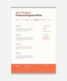 RESUME website. very simple portfolio. Alex Newport Website #grid #layout