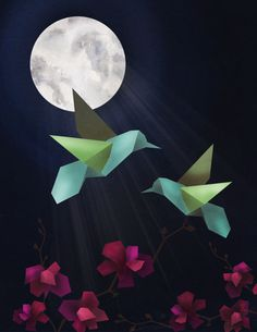 Hummingbird Illustration. jacquelombardo.com #design #graphic #bird #digital #illustration #art #flowers #moon