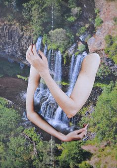 ocelott:nnuntitled by Djuno Tomsni on Flickr.n #design #illustration #art #blue #green #collage #paper #handmade #waterfall #arms #collag