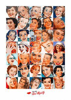 Red Majesty  #poster #pinup #vintage #print #lipstick #ads