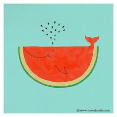 My cat can eat a whole watermelon | Flickr Photo Sharing! #illustration #whale #watermelon