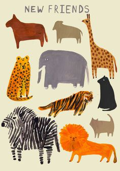 Zoo Friends Laura Gee Illustration #illustration #animals #friends