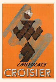 VINTAGE CHOCOLATE POSTER Croisier Chocolate Ad Chocolate