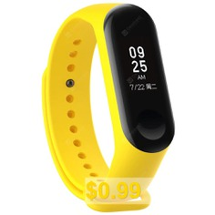 Silicone #Smart #Glossy #Wristband #for #Xiaomi #Miband #3 #- #YELLOW