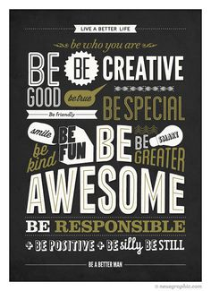 Motivational Typography Poster – Be kind Be greater Be awesome – Retro-style wall decor print