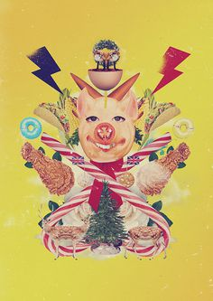 Christmas card 2014 on Behance #design #graphic #food #christmas #collage