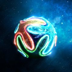 Artwork #neon #colorful #soccer #ball