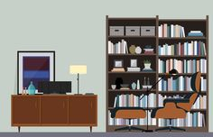Home Library Study Illustration – Nathan Manire #retro #icons #theme #illustration #vintage #study #midcentruy #decoration #modern #design #color #geometric #series #lounge #room #eames #flat #soundfreaq #interior #chair #decor #home #simple #library