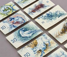 barbara bernát proposes hungarian money redesign with illustrated wildlife #redesign #wildlife #hungarian #hungary #illustration #currency #bills #money