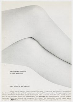 Robert Brownjohn. Artist's Proof for Lifelons Advertisement. 1963 #legs
