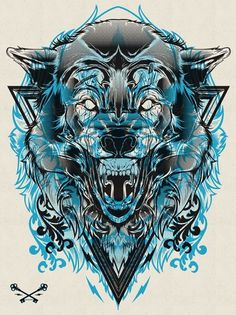 Halftone Print Series - Wolf & Lion on the Behance Network #hydro74