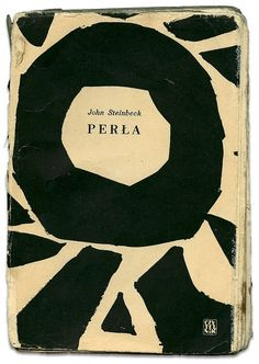 Książki z naszej półki » Perła | John Steinbeck #modern #design #bold #book #black #cover #shape #brush #modernism