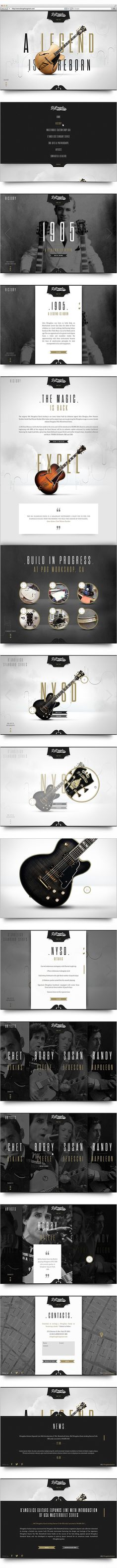 D'Angelico Guitars on Behance #guitar #white #design #black #gold #web