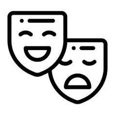 See more icon inspiration related to mask, drama, theater masks, emotions, masks, entertainment, tragedy, theatre, education and comedy on Flaticon.
