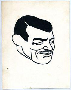 Clark Gable. caricature dessinée par René Goscinny entre 1950 et 1954 pour l'hebdomadaire belge Le Moustique.