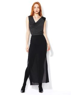 Robert Rodriguez Double Layer Silk Maxi Skirt #fashion #skirt #black