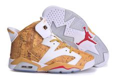 New Men Style in Gold & White Nike Air Jordan 6(Arriving at Retailers) #shoes