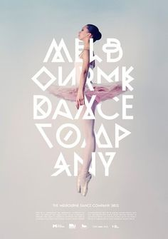 I like the geometrical shapes within the text and the layout of the text creates its own figure intertwined with the ballerina. #graphic #poster