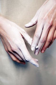 theaudacityofswope: sexual orientation: gareth pugh fw 14 #touch #chalk #fingers #photography #hands