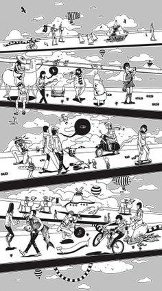 Window_drawing_walkers.jpg 891×1600 pixels #human #gerhard #illustration #masterssavant
