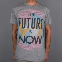 Paper Root Clothing — The Future is Now Tee - Heather Grey #illustration #tee #typography