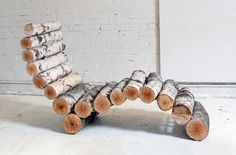 CJWHO ™ (DIY Inspiration: Crafty Wood Log Chaise Lounge...) #design #art #wood #trees #diy #chair #crafts #tutorial