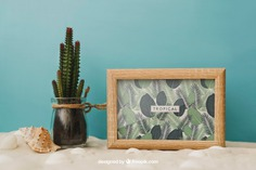 Beach concept with frame Free Psd. See more inspiration related to Frame, Mockup, Summer, Beach, Sea, Sun, Photo frame, Photo, Holiday, Mock up, Cactus, Decorative, Vacation, Sand, Summer beach, Up, Season, Concept, Composition, Mock, Summertime and Seasonal on Freepik.