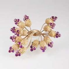 Vintage Ruby Flower Brooch