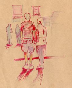 red ink on paper #couple #street #ink #hand #drawn #watercolor #sketch