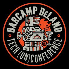 barcamp_shirt.gif #circle #robot #retro #emblem #clark #orr #type #technology