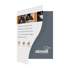 Aircell Airplane Presentation Folder (Front Open View) #printed #airplane #design #curved #custom #logo #folder